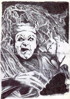 """Charles Ogle """"Frankenstein (1910"""" A4 ballpoint pen"""
