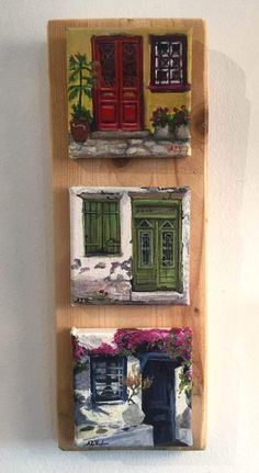 Mini series Doors - Acrylic on canvas x x 3 pieces Small Canvas Paintings, Easy Canvas Art, Small Canvas Art, Mini Canvas Art, Small Paintings, Acrylic Painting Canvas, Canvas Wall Art, 3 Piece Canvas Art, 3 Piece Painting