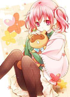 Inu x Boku SS - so cute!Tags: Anime, Eretto, Inu x Boku SS, Roromiya Karuta, Watanuki Banri (Tanuki), Flower Background, Toy
