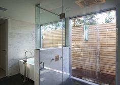 Indoor Outdoor Shower residential | martin & malkemus terra bella la z's bathroom, pool