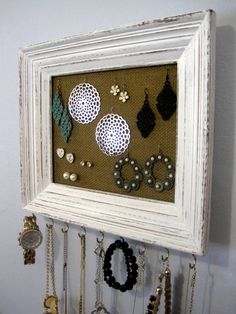 Framed Burlap Jewelry Hanger / White Distressed Hooks / Accessory Organizer / Necklace Earring Storage