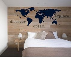 Map wall decal - I'd leave off the words.