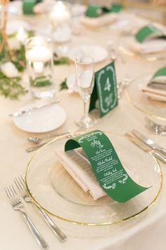 Emerald green wedding table settings: Photography: Amalie Orrange - http://amalieorrangephotography.com/