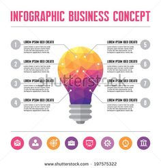 Infographic Business Concept - Creative Idea Illustration - vector lamp in geometric polygonal style with icons in flat design style for presentation, booklet, website etc.