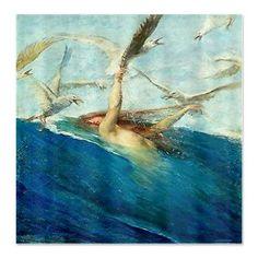Vintage Mermaid  Painting Giovanni Segantini Seagulls Shower Curtain