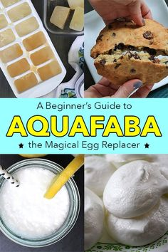 is a vegan egg replacer that totally changed the world of vegan cooking. Not only does it replace egg in recipes like a dream it's basically free. Here's a guide to getting started with this magical egg replacer plus some amazing aquafaba recipes! Vegan Dessert Recipes, Whole Food Recipes, Egg Free Recipes, Aquafaba Recipes, Vegan Egg Replacement, Vegan Meringue, Egg And Grapefruit Diet, Boiled Egg Diet Plan, Base Foods