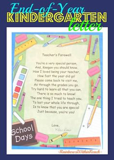Teacher's Farewell Letter for end of year (from article with numerous keepsakes and poems to conclude the year)