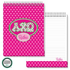 Alpha Chi Omega Jumbo Spiral Top Notepads
