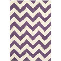 Safavieh Handmade Moroccan Chatham Chevron Purple/ Ivory Wool Rug (8' x 10') (CHT715F-8), Size 8' x 10'