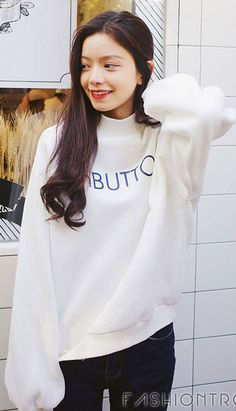 Fashiontroy Hipster & Indie long sleeves crew neck navy blue white letter printed oversized cotton fleece sweatshirt winter autumn