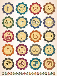 This pack of free floral social media icons has a retro style, and it includes 20 icons in 7 different sizes.