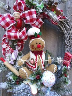 Christmas Wreath Gingerbread Men Holiday by NewEnglandWreath