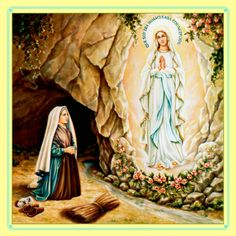 The Apparition and Novena prayer to the Blessed Virgin Mary Our Lady of Lourdes. St Bernadette Soubirous, Santa Bernadette, World Day Of Prayer, The Good Catholic, Our Lady Of Lourdes, Mama Mary, Pope John Paul Ii, Catholic Saints, Catholic Prayers
