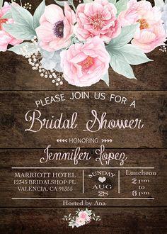 Floral Bridal Shower Invitation Boho Chic