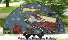 Primitive Door Crown Santa Saltbox Holiday Door Topper by Primgal, $30.00