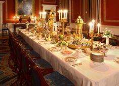 Surtout de table comprising porcelain tempiettos, ormolu candelabras & exquisite gilt porcelain table ware - The superb Dining Room set towards the Grand Tour - Attingham Park, England.