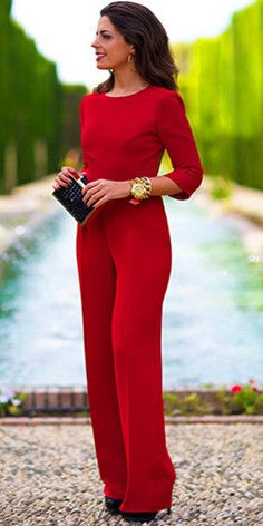 Sexy Solid Backless 3/4 Sleeve Round Neck Jumpsuit #wedding