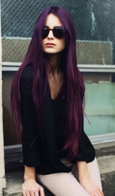 The Stunning Purple Colored Hairstyle for Very long Straight Hair
