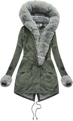 Dámska bavlnená parka s kožušinou khaki šedá Grey Parka, Military Jacket, Raincoat, Winter Jackets, Women, Fashion, Wraps, Fashion Clothes, Rain Jacket