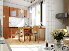 Визуализация интерьера совмещенной кухни. Ракурс 1