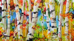 Birches done in alcohol ink on yupo by Jewel Buhay