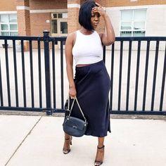 Lolaaslooks | Grey tank black silk skirt black heeled sandals black purse