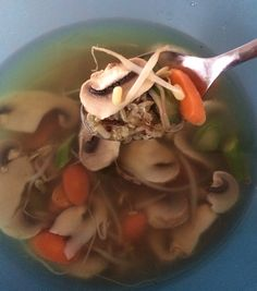 Awesome energy soup.!! Chicken broth, carrots,asparagus,bean sprouts, white mushroom and wild rice quinoa blend. All I did was cook the broth with the quinoa rice blend then sliced some carrots,asparagus cook them for about 10min then throw some bean sprouts and thin slices of mushrooms in at the end just to blanch them and add some salt and pepper to season. Amazing taste and give you so much energy !! A must try