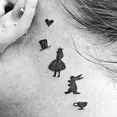 alice in wonderland behind ear tattoos - Google Search