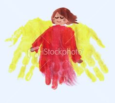 angel hand print...could do this and then a small cut out print of the student's face froma  photograph.