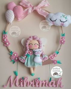948 likes, 31 comments - Elif Buzlu Komanovalı ( on I . Felt Crafts Diy, Baby Crafts, Crafts For Kids, Arts And Crafts, Felt Wreath, Felt Garland, Sewing Toys, Baby Sewing, Baby Door