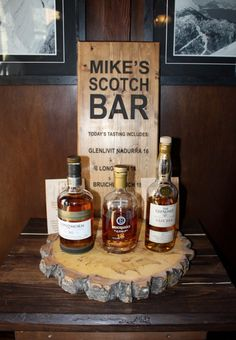 Wood wedding sign for scotch bar at Lake Louise wedding made by Naturally Chic.  #customwoodsign #woodweddingsign #weddingsignage
