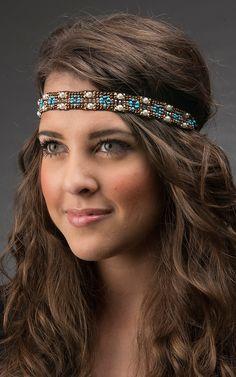 Blazin Roxx Brown & Pearl Beaded Headband 30088