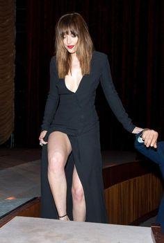 Dakota Johnson showing off some leg in Berlin, Germany Wednesday.