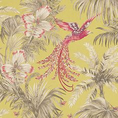 Matthew Williamson Bird of Paradise Lemon/Coral Lime / Coral / Taupe Wallpaper main image