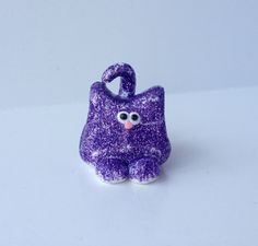 Sparkles the Glitter Kitty Cat Made to Order Figurine Ornament or Magnet Polymer Clay