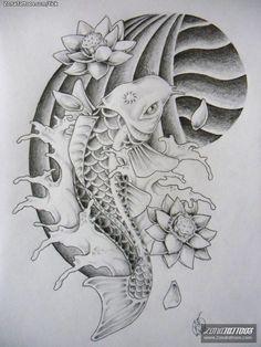 pez koi tattoo blanco y negro - Buscar con Google