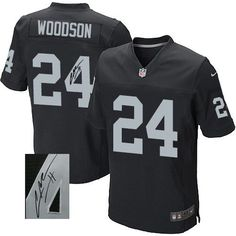 11d9fb267 Charles Woodson Men s Elite Black Jersey  Nike NFL Oakland Raiders  Autographed Home  24 Charles