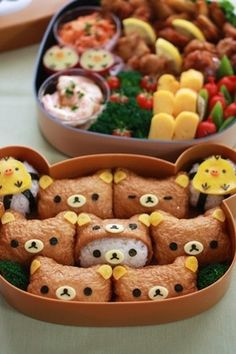 picnic bento with inari zushi (my favorite, although I've never seem them like Rilakkuma bear before) Cute Bento Boxes, Bento Box Lunch, Bento Food, Cute Food, Yummy Food, Japanese Food Art, Japanese Candy, Japanese Bento Box, Japanese Sweets