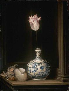 Dirck van Delen '-Tulp in een vaas' - Dit schilderijtje neemt in Van Delens…
