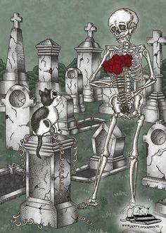 Friedhofs Grußkarte 'Blumen für dich' alte Gräber von PussInBooks