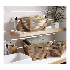 Bamboo Storage Totes with Liners Set of Three in Bath Accessories | Crate and Barrel