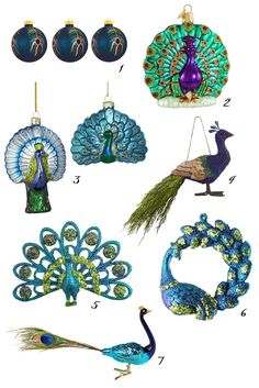 Sweet and Lovely Peacock Ornaments Peacock Christmas Tree, Peacock Ornaments, Peacock Crafts, Peacock Decor, Peacock Colors, Peacock Art, Peacock Theme, Blue Christmas, Holiday Ornaments