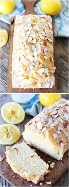 Lemon Almond Bread Recipe on twopeasandtheirpod.com My favorite quick bread recipe! Perfect for citrus season and it's dairy free too! Lemon Loaf Cake, Lemon Bread, Banana Bread, Pound Cake, Pizzas, Dairy Free Quick Bread, Dairy Free Lemon Cake, Dairy Free Scones, Breakfast Bread Recipes
