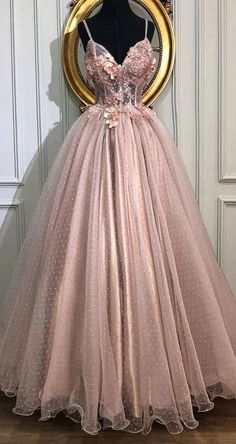 A-line V-Neck Tulle Long Prom Dresses, Pearl Pink Appliques Formal Evening Dress Source by ombrepromuk dresses for teens Pretty Prom Dresses, Hoco Dresses, Ball Dresses, Cute Dresses, Beautiful Dresses, Homecoming Dresses, Tulle Prom Dress, Long Pink Dresses, Ball Gowns