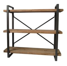 Lex 3 Level Shelf Natural Solid Fir Wood Iron