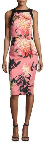 Black Halo Sleeveless Floral Stretch Sheath Dress, Coral Chrysanthemum