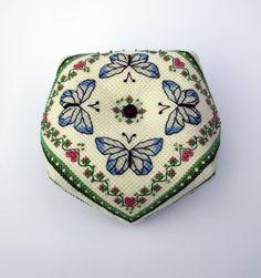 Blue Butterflies Biscornu Pattern Cross Stitch Instant