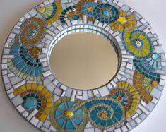 Abstract Turquoise and Yellow Mosaic Mirror - Original Art.via Etsy. Mosaic Pots, Mosaic Glass, Mosaic Tiles, Glass Art, Stained Glass, Mosaics, Mosaic Bathroom, Mirror Mosaic, Small Bathroom