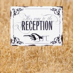 Black and White Vintage This Way to the Wedding Yard Sign