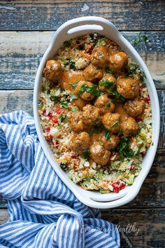 Curry gehaktballetjes met bloemkoolrijst Tasty curry meatballs with cauliflower rice recipes # Healthy Summer Recipes, Quick Healthy Meals, Healthy Low Carb Recipes, Healthy Chicken Recipes, Healthy Dinner Recipes, Good Food, Yummy Food, Go For It, Big Meals